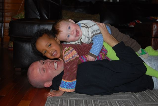 Amelie, Age 2.5, Home with Dad & Her Baby Brother