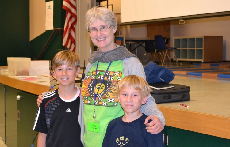 Author Jane Kurtz and students